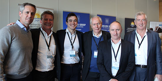 The team of the ConTech2018 principal sponsor, Manildra, enjoy the trade exhibition: (L-R)  Adam Armstrong, Jason Davis, Carter Wands, Peter Simpson, Barry Bance and Murray Newman